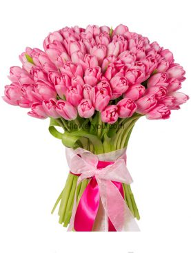 75 Pink Tulips Bouquet