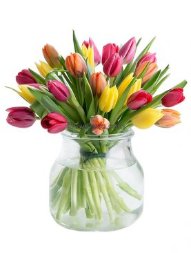Rush Of Colors - 20 Tulips Bouquet