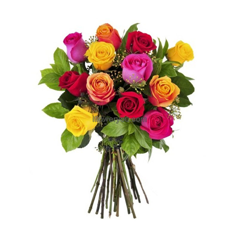 Splash Of Colors - 12 Mixed Roses Bouquet