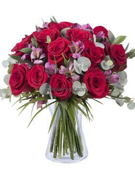 Trendy Radiance - 12 Roses and Alstroemerias Bouquet